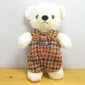 限定生産!フカフカくたくたのクマさん♪童心 日本製 くまのぬいぐるみ クマのフカフカ Sサイズ クリーム(チドリオレンジサロペット)