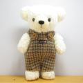 限定生産!フカフカくたくたのクマさん♪童心 日本製 くまのぬいぐるみ クマのフカフカ Mサイズ クリーム(チドリグリーンサロペット)