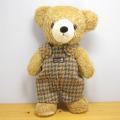 童心 日本製 くまのぬいぐるみ クマのフカフカ Mサイズ ブラウン(チドリグリーンサロペット)