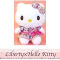 45周年を記念したリバティプリントが登場♪Liberty×Hello Kitty リバティ×ハローキティ リボンワンピ ピンク ぬいぐるみM