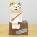 ちょこんと飾ってかわいい!置いてるだけで一緒に旅気分に♪DECOLE(デコレ) concombre(コンコンブル) 旅猫 in HAWAII 三毛猫トランク